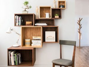 giá sách gỗ treo tường đẹp